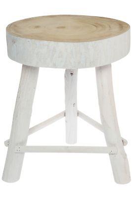 kleiner Sitzhocker Hocker weiß antik massiv Holzhocker Schemel natur Fußhocker