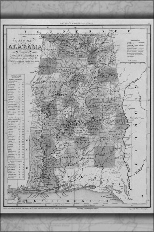 1841 AL ALABAMA Map Alexander City Andalusia Anniston Arab Athens Atmore Auburn