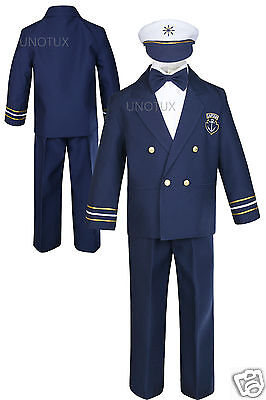 Baby Boy Toddler Nautical Captain Sailor Suit Wedding Formal Outfits Navy 0-7Yrs (Male Sailor Outfit)