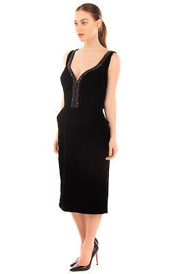 RRP €890 ERMANNO SCERVINO Velvet Sheath Dress Size 46 / L Black Made in Italy