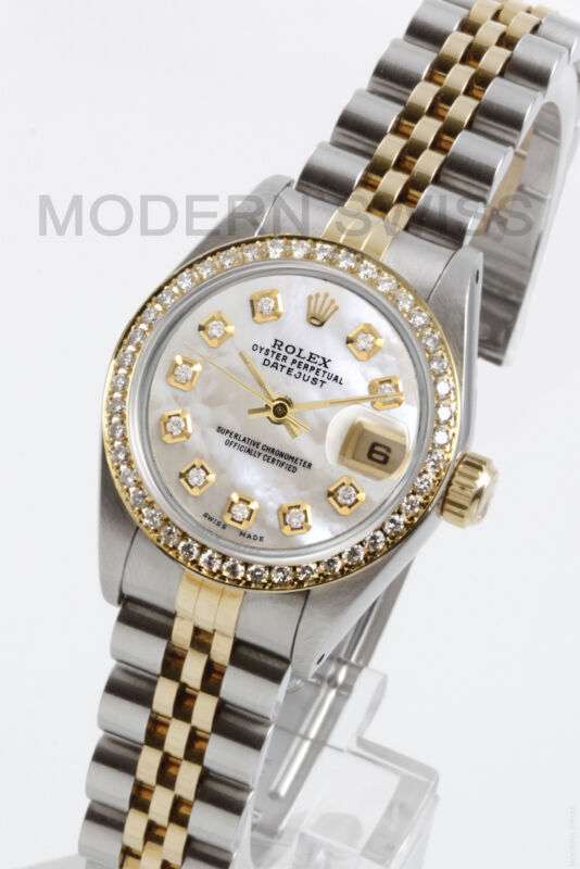 Rolex Ladies Datejust Gold & Steel White Mop Diamond Dial & Bezel Jubilee 2tone
