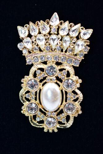 Vintage 80s Pin Brooch Rhinestone Crystal Imitation Pearl Gold Tone Royal BinB