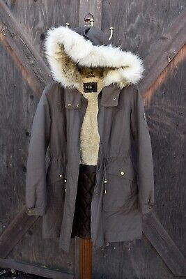 Lbd Laundry Parka Coat Jacket Faux Fur fleece Hooded women's Sz Medium Womens Faux Fur Coats