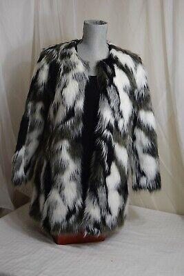 UNIQUE black & white gray faux fur coat jacket fuzzy women's size S small Womens Faux Fur Coats