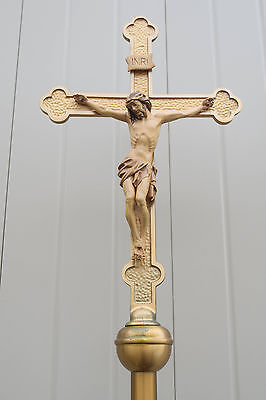 + Older Processional Cross with Wood Carved Corpus (CU136) Church Crucifix