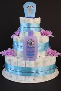 Blue and Purple Diaper Cake with Decorative Pacifiers