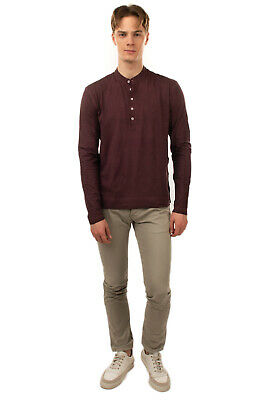 MASSIMO ALBA Henley Top Size L Garment Dye Worn Look Long Sleeve Made In Italy