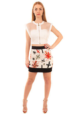 RRP €790 FAUSTO PUGLISI Mini Straight Skirt Size 40 XS Cross Print Made in Italy