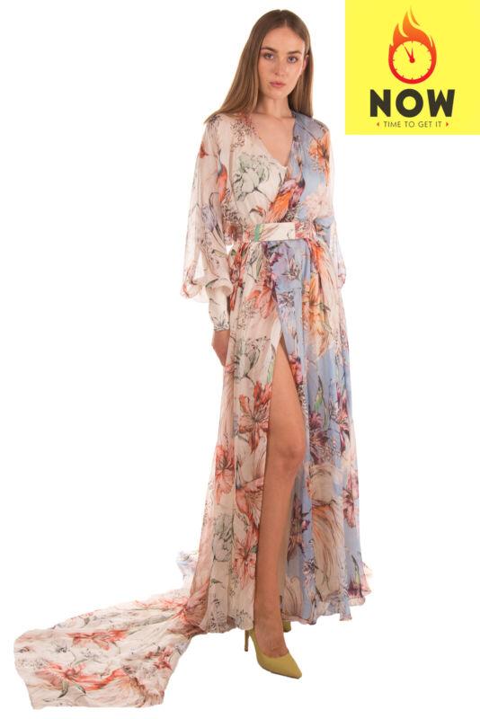 RRP €3360 FAUSTO PUGLISI Silk Kaftan Gown Size 42 / S Floral & Bird Train Back