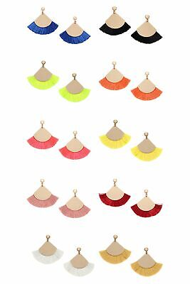 Fan Shape Earrings - Fan Shape Tassel Post Drop Dangle Earrings ( Variety Color Available ) By DOBBI