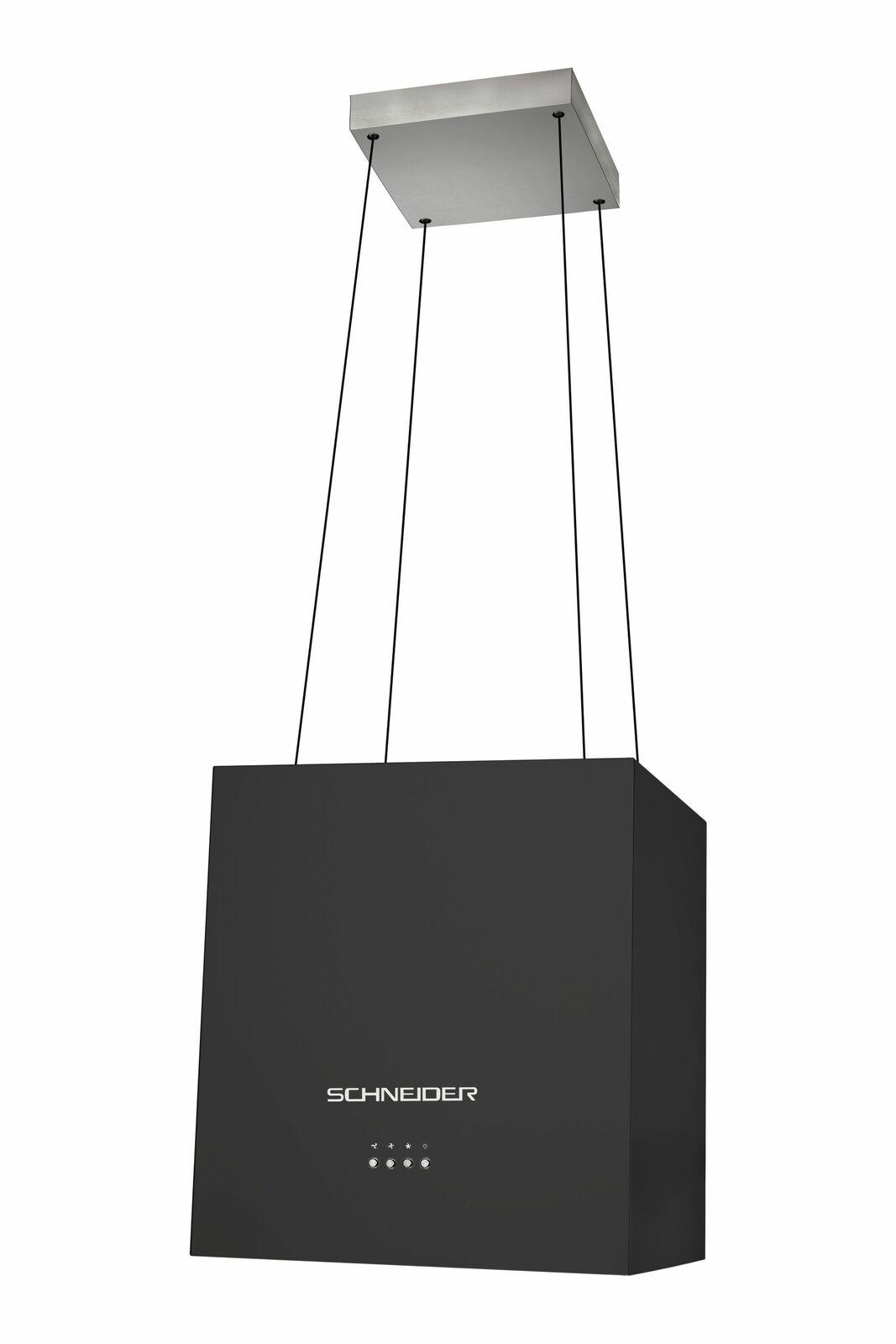 Schneider Inselhaube schwarz hängende Dunstabzugshaube Umluft Seilaufhängung