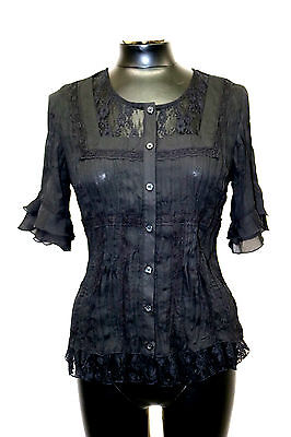 Ny Collection Petite Blouse Short Sleeve Pleated Lace Trim Black Size PM