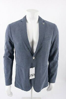 Zara Mens Structured Blazer Suit Coat Jacket Blue US sz 42 EU 52 6861/415 NWT