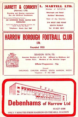 Harrow Borough v Arsenal, friendly programme, Dec 1974, good condition