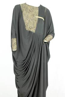 Long Black Abaya with Golden lace front and gathered waistline