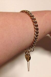 13.9 GRAMS   9ct Gold bracelet with heart padlock locket 20cm Perth Perth City Area Preview