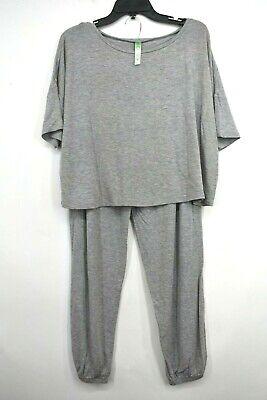 Honeydew Intimates Womens Sun Lover Pajama Set Solid Grey Short Sleeves Sz L