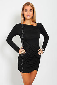 ♥ Trendy Women's Mini Dress ♥ Long Sleeve Asymmetric Neck Tunic Sizes 8-18 6053