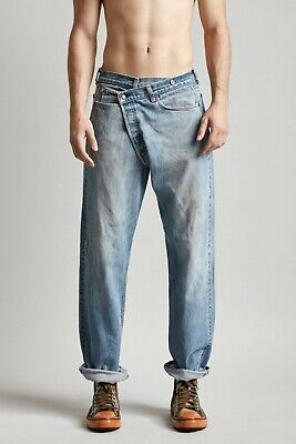 R13 $495 Crossover Refurbished Vintage Asymmetrical Button Fly Jeans Size Small