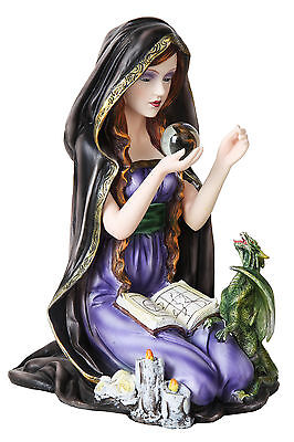 Wican Witch With Small Dragon Crystal Ball Statue Spell Book Orb Figurine  (Witch With Crystal Ball)