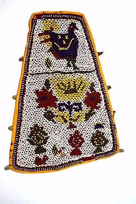 Old Indian Hand Embroidery Work Kutch Heavy Beaded Wall Hanging Décor.i17-351 UK