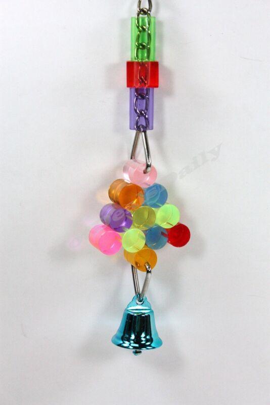 PET BIRD ACRYLIC RAINBOW BELL TOY FUN ACTIVITY FOR CAGE SMALL TO MEDIUM