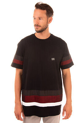 RRP €145 LHU URBAN By LES HOMMES T-Shirt Top Size L Partly Striped Mesh Trim