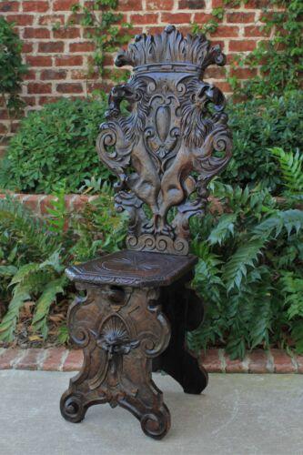 Antique Italian Carved Walnut Sgabello Chair Side Hall Chair Renaissance Gothic