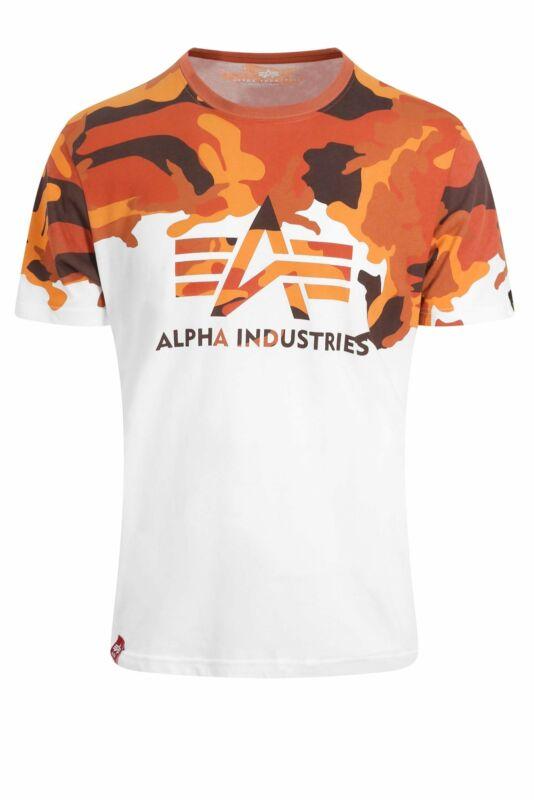 buty sportowe sprzedaż obuwia kup dobrze Mens T-Shirt ALPHA INDUSTRIES Lost Camo T-Shirt | White/Orange Camo