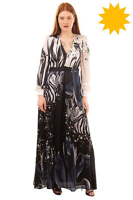 RRP €945 CAVALLI CLASS Silk A-Line Gown Size 40 / S Printed V Neck Made in Italy