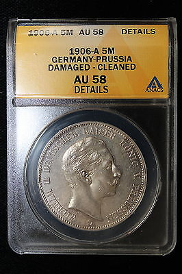 1906 A GERMANY PRUSSIA. 5 MARK. ANACS GRADED AU 58 DET