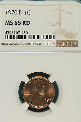 1970-D NGC MS65 RED Lincoln Wheat Cent!! #A6092