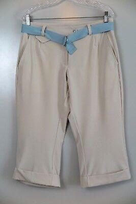 NWT Nike Golf Stone Beige Dri-Fit UV Tech Cuffed Crop Pants Size 8 MSRP $88