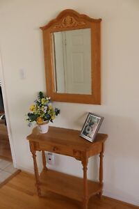 Solid oak hall table and matching oak mirror
