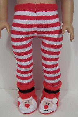 2pc Red & White Stripe TIGHTS Santa Slipper-Shoes For 18