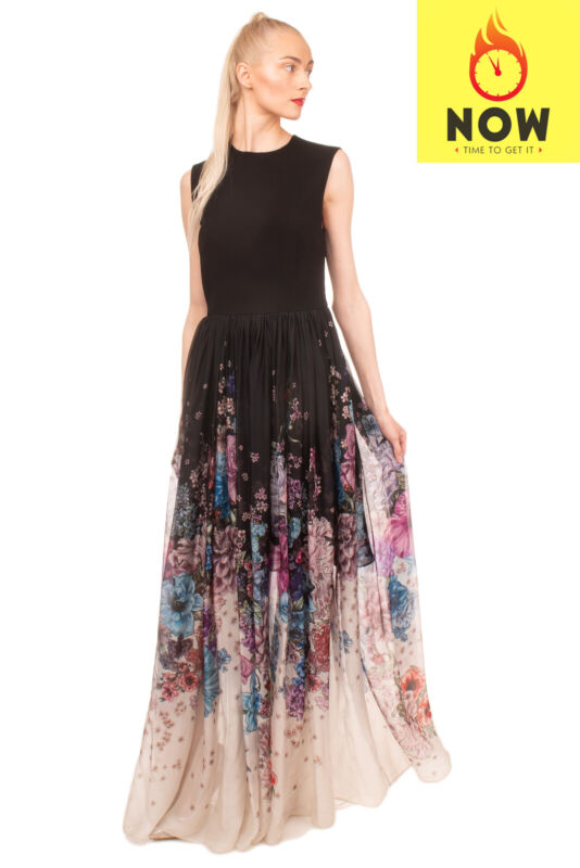 RRP €2995 ZUHAIR MURAD Maxi Fit & Flare Dress Size 42 / L Floral Made in Italy