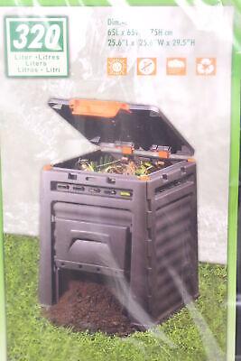 Garden Views Eco Composter 320L Kunststoffkomposter 65x65x75cm Black New