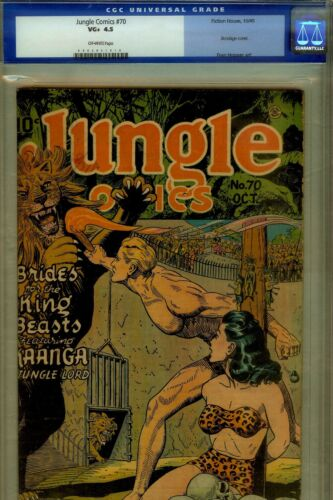 JUNGLE COMICS # 70-CGC 4.5- BONDAGE/SKULL CVR- WWII COMIC 1945
