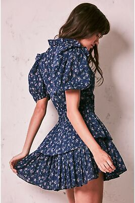 NWOT Loveshackfancy Marnie Mini Dress in Eventide Blue floral cotton P XXS XS