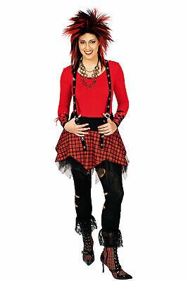 Kostüm Punkrock karierter Rock Punker Hosenträger Armstulpen Karneval Fasching ()