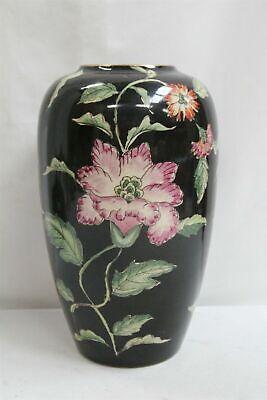 Base Porzellan Lampe (Japanisch Satsuma Blumen Blätter über Schwarz Porzellan Lampe Base Unterzeichnet)
