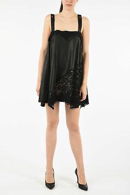 FAUSTO PUGLISI women Dresses 40 IT Black Leather Pencil Mini Dress Sleeveless...