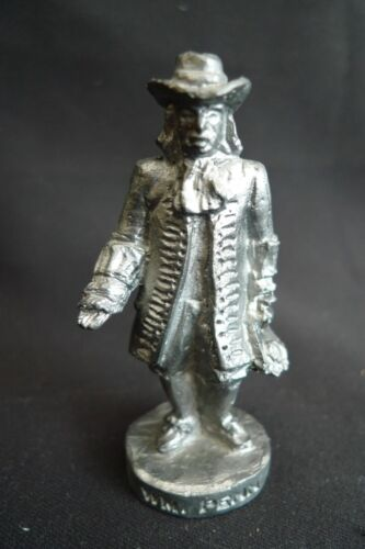 VINTAGE WILLIAM PENN HEAVY PEWTER FIGURINE STATUE HANDCRAFTED IN USA