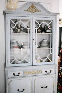 Beautiful antique chalk painted china cabinet