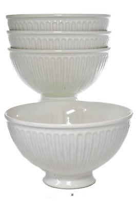 Set 4 Pedestal Base Footed Ivory/Bisque Classic Greek Embossed Soup Cereal Bowls - Footed Cereal Bowl