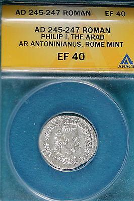AD245-247 ANACS EF40 Roman Philip I The Arab Rome Mint! #B7743