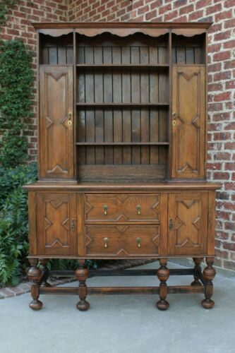 Antique English Oak LARGE Jacobean Tudor Plate Dresser Sideboard Cabinet Buffet
