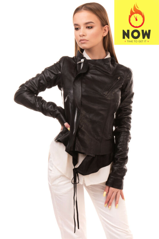 RRP €1655 RICK OWENS Leather Biker Jacket Size 40 / S Ribbed Wool Sleeve