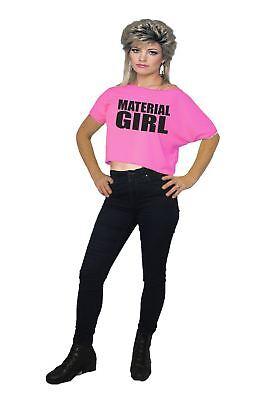 Womens 1980's Neon Pink Material Girl Madonna 80's (Madonna Kostüm Material Girl)