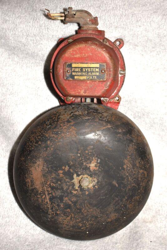 "Vtg Fire System Warning Alarm Bell, 110 v, Brass Body 8"" Bell & Gong Arm Hammer"